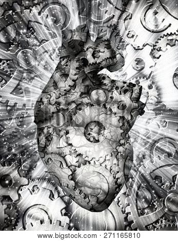 Black and white composition. Human heart with cogwheels. 3D rendering