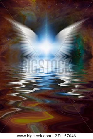 Bright star with white wings reflected in water surface. 3D rendering