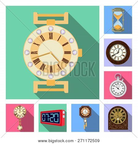 Vector Illustration Of Clock And Time Logo. Collection Of Clock And Circle Stock Symbol For Web.