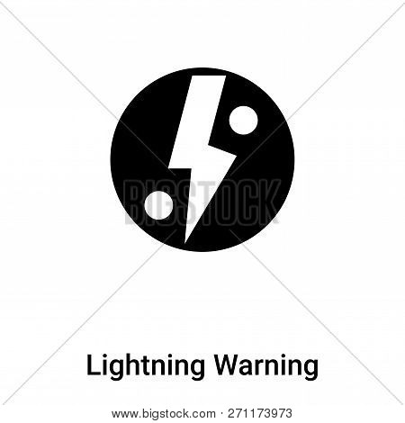 Lightning Warning Icon In Trendy Design Style. Lightning Warning Icon Isolated On White Background.