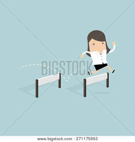 Businesswoman Jumping Over Hurdle Cartoon. Vector Illustration
