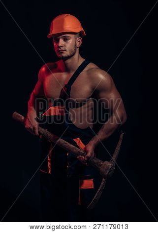 Closed, Under Construction. Man Miner With Mining Equipment. Muscular Man Worker. Hard Worker With M
