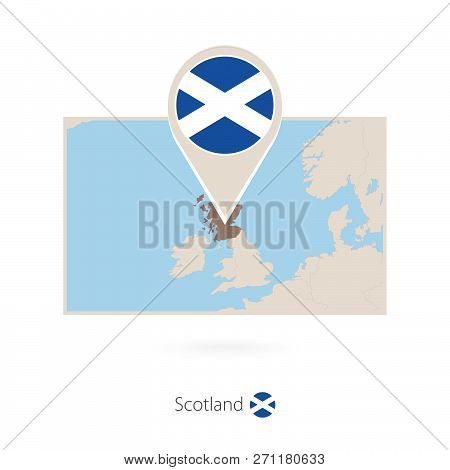 Rectangular Map Of Scotland With Pin Icon Of Scotland