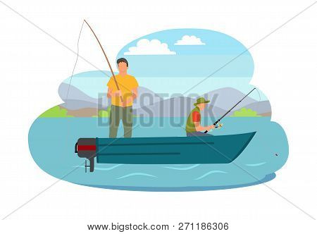 Fishing Fisherman From Motorboat Vector Illustration. Standing And Sitting Fisher With Fish-rod, In