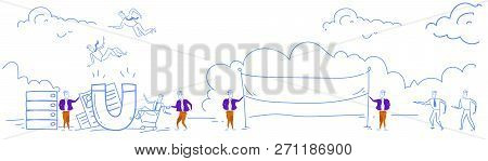 Customer Retention Businessmen Giant Magnet Attracts Client Stuff Recruitment Concept Catching Best