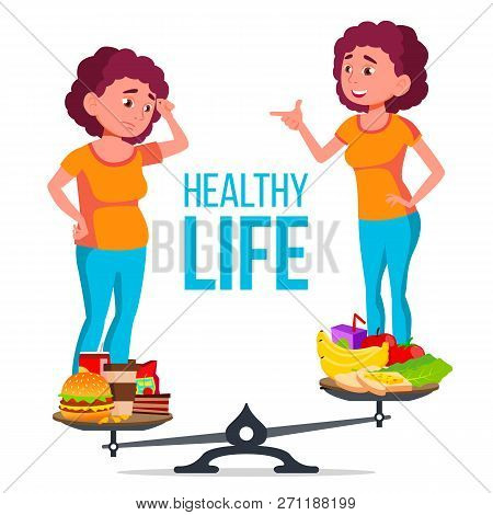 Fat And Slim Girl On The Scales With Healthy And Unhealthy Food Vector. Isolated Cartoon Illustratio