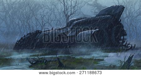 Crashed Spaceship In The Wet Land. Fiction Backdrop. Concept Art. Realistic Illustration. Video Game