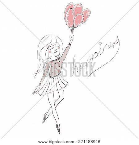 Vector Illustration Of A Girl Holding Birthday Balloons