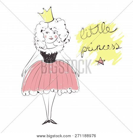Cute Girl With A Crown In A Pink Dress Illustration, Hand Written Text Little Princess