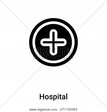 Hospital Icon In Trendy Design Style. Hospital Icon Isolated On White Background. Hospital Vector Ic
