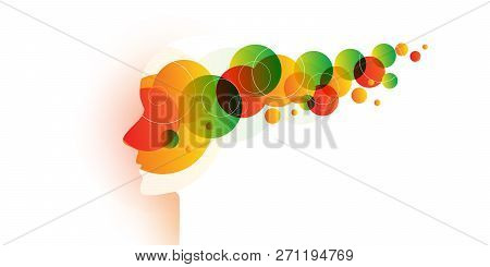 Wallpaper, Background, Flyer, Landing Page Or Cover Design With Human Or Robot Head And Abstract Pat