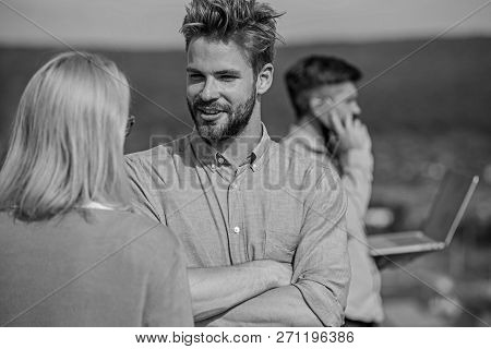 Couple having fun while busy businessman speak on phone. Flirt and love affair concept. Husband losing wife because not pay attention to her. Couple flirting while man busy with mobile conversation poster