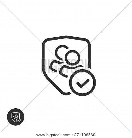 User Group Privacy Vector Icon, Line Outline Authentic Or Confidential Team Data, Two Persons Protec