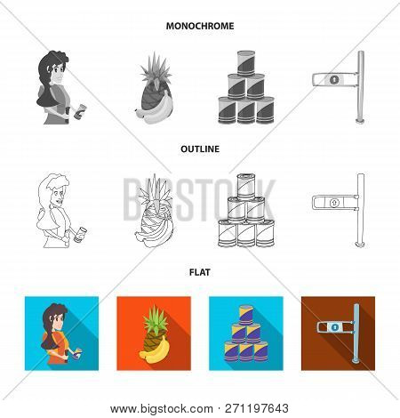 Vector Illustration Of Food And Drink Sign. Collection Of Food And Store Stock Vector Illustration.