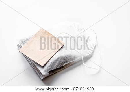 Close Up Lable Of Teabag On White Background Mock-up