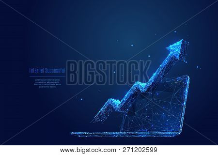 Vector Arrow Up On Laptop. Abstract Image Of Financial Growth In The Form Of A Starry Sky Or Space,