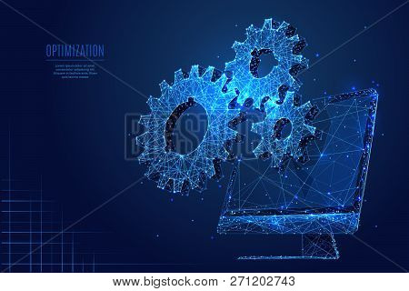 Gears On Computer Background. Low Poly Wireframe Vector Polygonal Illustration. Digital Computer Ser