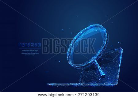 A Magnifying Glass Laptop Background. Low Poly Wireframe Vector Polygonal Illustration. Isolated Com