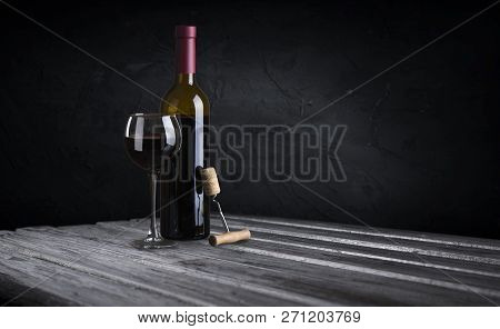 Row Of Vintage Wine Bottles In A Wine Cellar