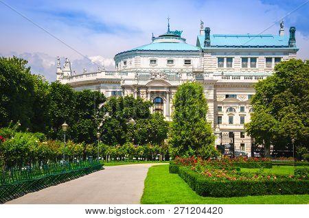 Volksgarten Park With View To Famous Vienna Burgtheater (imperial Court Theatre), Austria.