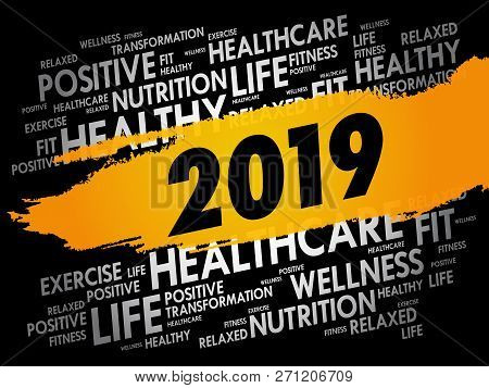 2019 - Word Cloud Collage, Health Concept Background
