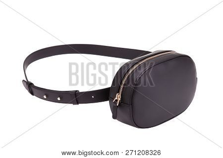 Fashionable Belt Bag On A White Background. Black Leather Belt Bag. Fashionable Belt Bag.