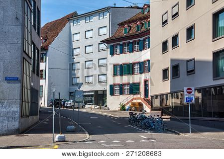 Basel, Switzerland - August 1, 2018: The river Rhine and the historic center of Basel