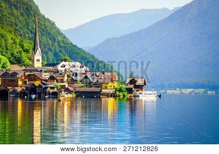 Hallstatt Village In The Austrian Alps At Sunrise