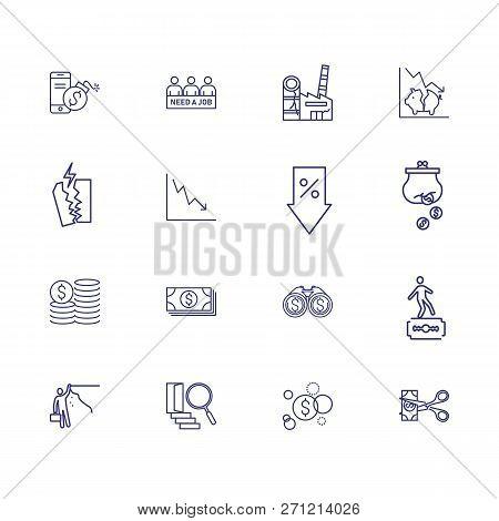 Monetary Crisis Icons. Set Of Line Icons. Unemployment, Bankruptcy, Decline. Financial Problems Conc