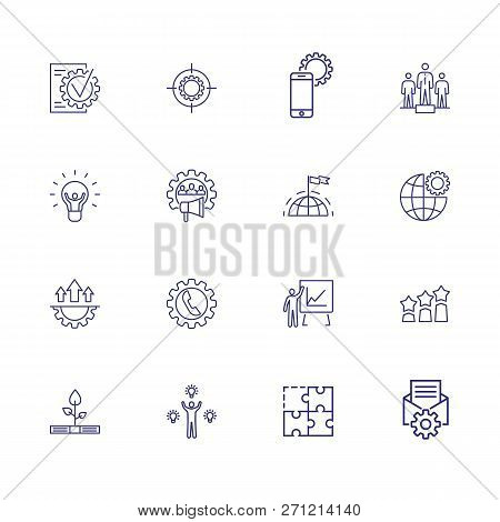 Progress Icons. Set Of Line Icons. Hr Marketing, Global Progress, Optimization. Development Concept.