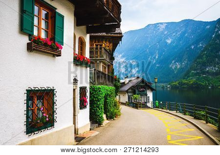 Beautiful Street With Nice Houses In Mountain Village. Hallstatt, Austria.