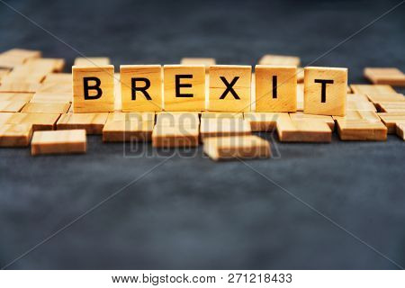 Brexit Concept - Wood blocks arranged in Brexit