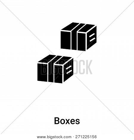 Boxes Icon In Trendy Design Style. Boxes Icon Isolated On White Background. Boxes Vector Icon Simple