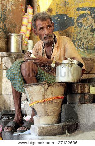 Indian Man Preparing Masala Chai