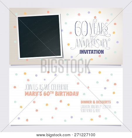 60 Years Anniversary Invitation Vector Illustration. Design Template With Photo Frame Collage For 60