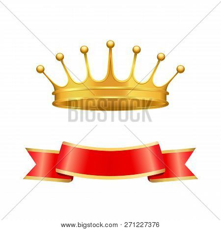 Golden Heraldic Crown With Seven Pearls Or Beads On Jags And Wavy Ribbon Below Isolated. Vector Baro