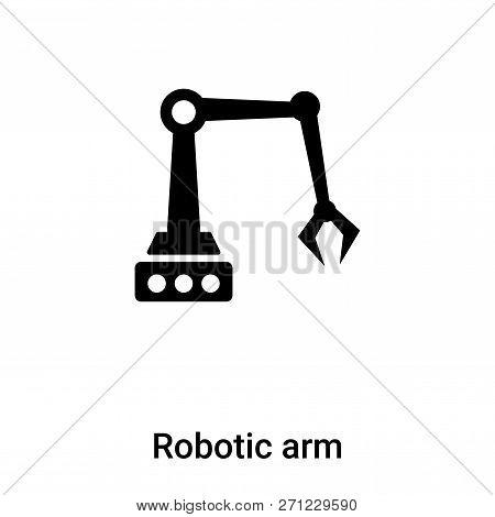 Robotic Arm Icon In Trendy Design Style. Robotic Arm Icon Isolated On White Background. Robotic Arm
