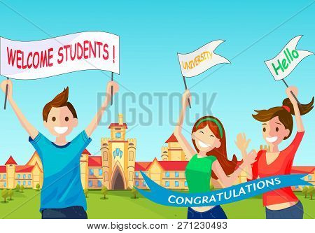 Vector Concept Illustration Cartoon Happy Students. Group Smiling People Meet New Students With Post