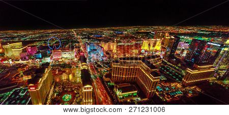 Las Vegas, Nevada, United States - August 18, 2018: Aerial Panorama Of Las Vegas Strip By Night. Sce