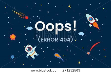 Space With The Stars, The Cosmonaut And The Rocket. Site Error 404. Page Not Found.