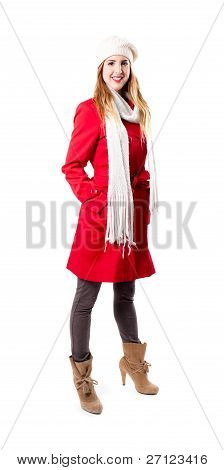 Pretty Young Redhead In Red Coat