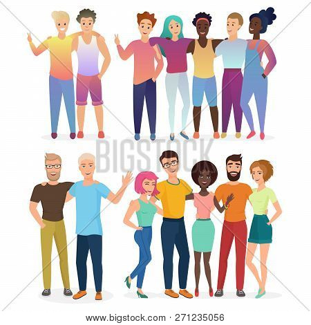 Group Of Vector Happy Friends People In Casual Clothes Isolated.