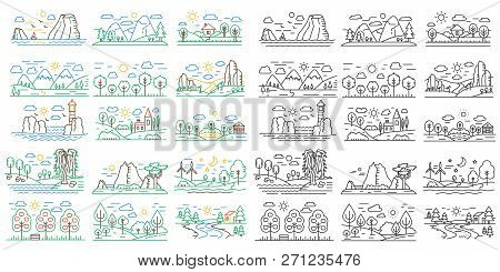 Nature Line Icon Mini Landscapes With Mountains, Fields And Rivers. Outline Color And Black Vector N