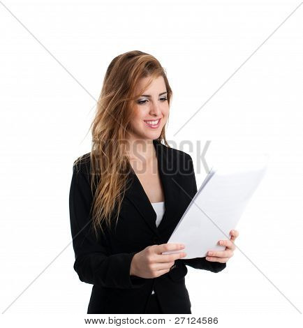 Smiling Redhead Holding Papers