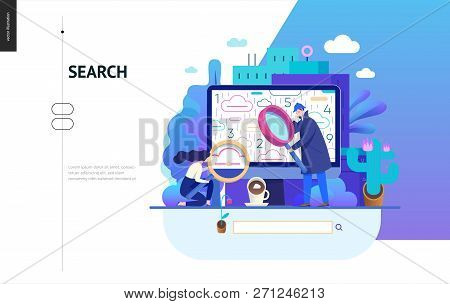 Business Series, Color 2 - Search Page - Modern Flat Vector Illustration Concept Of Digital Data Res