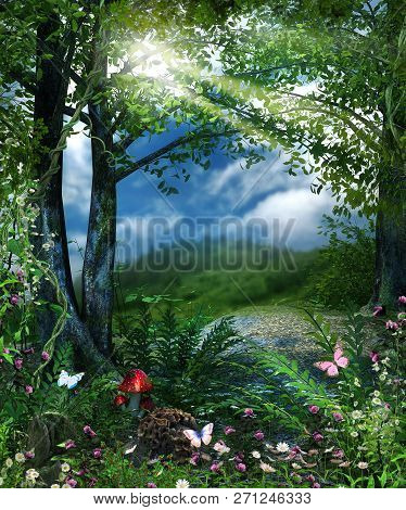 Concept Of A Magical View From A Fairy Tale Forest, 3d Render