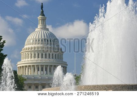 United States Capitol Building as seen from Upper Senate Park - Washington DC, United States of America