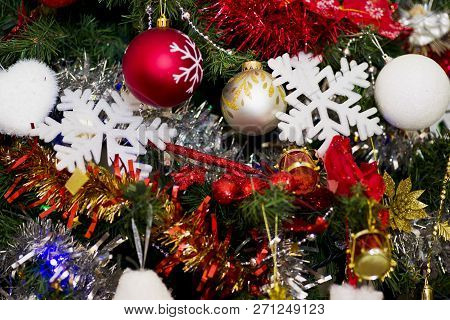 Christmas Tree With Decoration With Balls And Snow