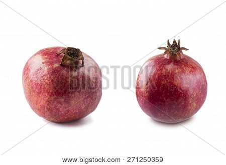 Red Pomegranates Isolated On White Background. Top View. Pomegranate Isolated On White Background. S