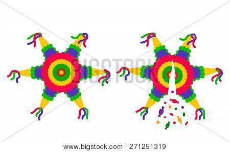 Bright Striped Cartoon Stars Pinata. Broken Confetti And Candy. Cute Simple Flat Vector Illustration